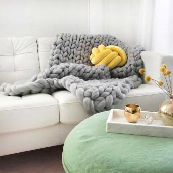 adorist. – Wolldecke Cosima Chunky Knit, hellgrau