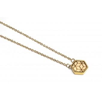 BeWooden Halskette mit Anhänger mit Holzdetail - Virie Necklace Hexagon