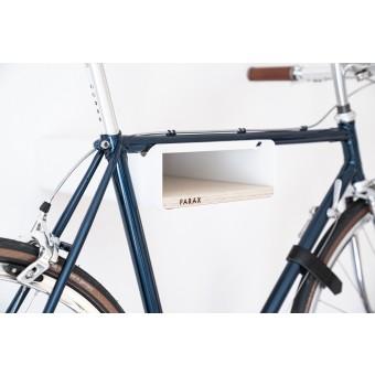 Design Fahrrad-Wandhalterung | PARAX® S-RACK | Weiß mit Birken Holz | für Rennrad Hardtail & Cityrad
