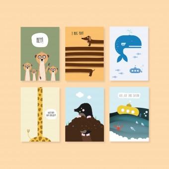 "Edith schmuckes Papier ""Tierisch"" Postkarten Set"