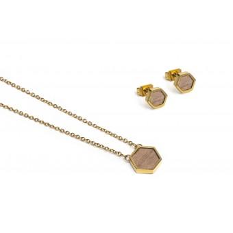 BeWooden - Halskette & Ohrringe Set - Apis Hexagon Set