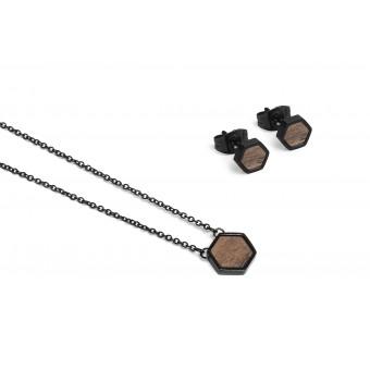 BeWooden Halskette & Ohrringe Set - Apis Nox Hexagon Set