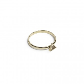 BeWooden Ring mit Holzdetail - Aurum Triangle Ring
