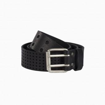 Ledergürtel aus Rindsleder mit Lochdesign und silberner Doppeldornschließe (black) FILD PIECES Berlin