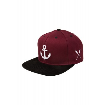 "HOME IS WHERE YOUR HEART IS. – Anker Snapback Cap ""Wonderland"" (BURGUNDY/BLACK)"