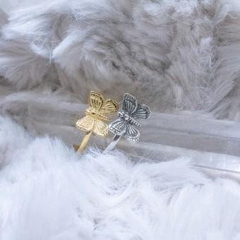 Fünf Schmetterling Ring Silber
