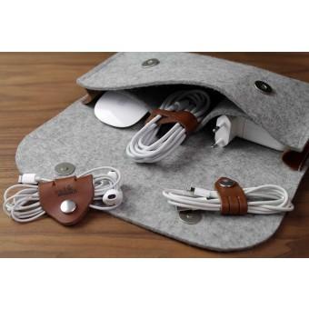Kabel Organizer Set (4 Stück) - Pflanzlich gegerbtes Leder