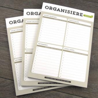 Design Verlag Notizblock – Organisiere dich! (3er-Set)