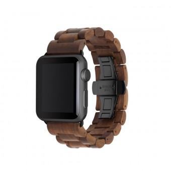 Woodcessories - EcoStrap - Premium Design Holzband, Strap, Armband, Uhrenarmband für die AppleWatch 1, 2 & 3 aus echtem Holz (Walnuss / schwarz, 42mm)