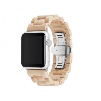 Woodcessories - EcoStrap - Premium Design Holzband, Strap, Armband, Uhrenarmband für die AppleWatch 1, 2 & 3 aus echtem Holz (Ahorn / silber, 42mm)