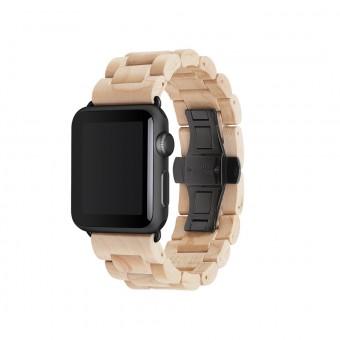 Woodcessories - EcoStrap - Premium Design Holzband, Strap, Armband, Uhrenarmband für die AppleWatch 1, 2 & 3 aus echtem Holz (Ahorn / schwarz, 42mm)