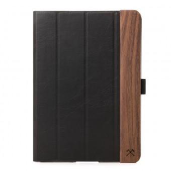 Woodcessories - EcoFlip iPad - Premium Design Case, Cover, Hülle für das iPad aus Walnuss Holz & hochwertiger Lederoptik m. Standfunktion (iPad Air 2)