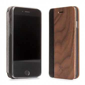 Woodcessories - EcoFlip Case - Premium Design Hülle, Case, Cover für das iPhone aus FSC zert. Holz & veganem Leder (iPhone X, Walnuss)