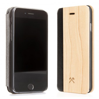 Woodcessories - EcoFlip Case - Premium Design Hülle, Case, Cover für das iPhone aus FSC zert. Holz & veganem Leder (iPhone X, Ahorn)