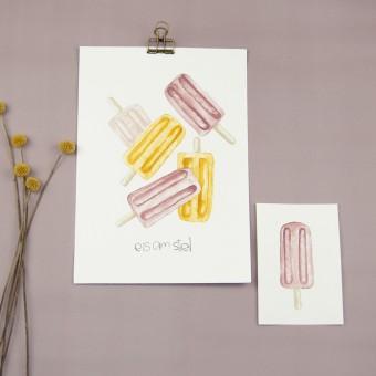 "nathys_illustration - Aquarellbild + Postkarte ""Eis am Stiel"""