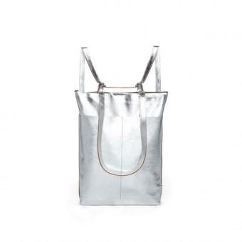 ElektroPulli Rucksacktasche BJARNE aus Leder - Silber