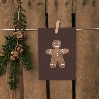 Weihnachtskarte A6 – Lebkuchenmann - Elliet