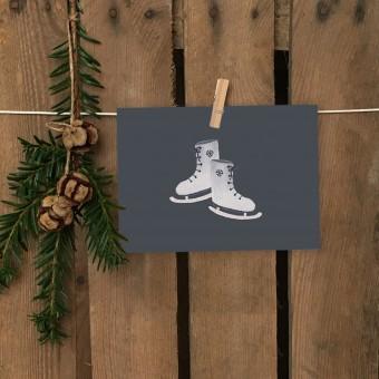 Weihnachtskarte A6 – Schlittschuhe - Elliet