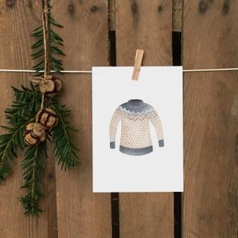 Weihnachtskarte A6 – Norweger Pullover - Elliet