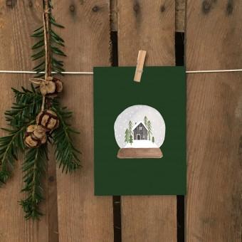 Weihnachtskarte A6 – Schneekugel - Elliet