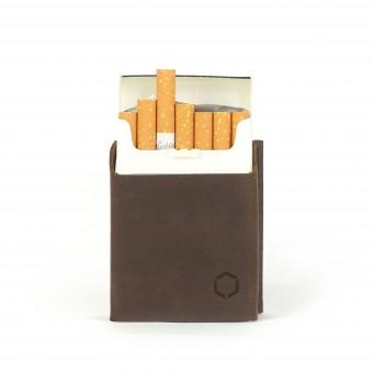 HOCH3 HELMUT Zigarettenetui | dunkelbraunes Leder