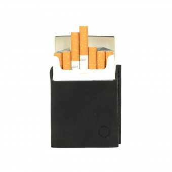 HOCH3 HELMUT Zigarettenetui | schwarzes Leder