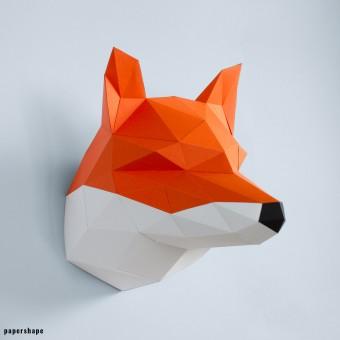 PaperShape Fuchs - Vegane Tiertrophäe aus Papier im DIY Kit