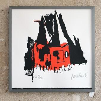 """Siebdruck """"Goetzen"""" von Marc Haselbach mit Rahmen"""