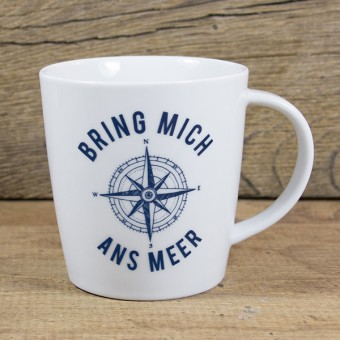 """Bow & Hummingbird Großer Porzellanbecher """"Bring mich ans Meer"""""""