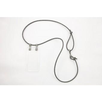 Lapàporter – iPhone case zum Umhängen mit geflochtener Lederkordel, grau/silber