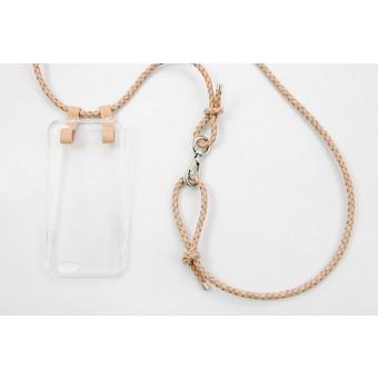 Lapàporter – iPhone case zum Umhängen mit geflochtener Lederkordel, natur/silber
