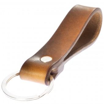 LIEBHARDT Geschenk als Dankeschön für Frauen Männer Schlüsselanhänger aus pflanzlich gegerbtem Leder genietet (braun)