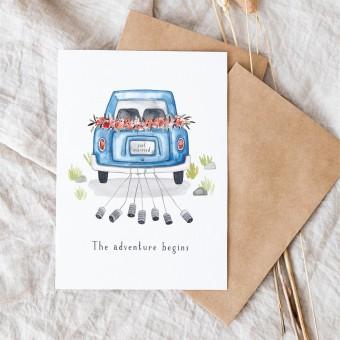 Paperlandscape | Hochzeitskarte | Hochzeitsauto Reise