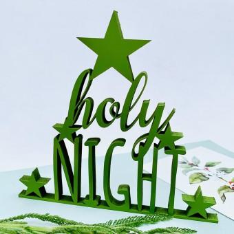 NOGALLERY holy night - Deko Schriftzug Holz