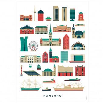 Hamburg Sehenswürdigkeiten Poster (Din A3)