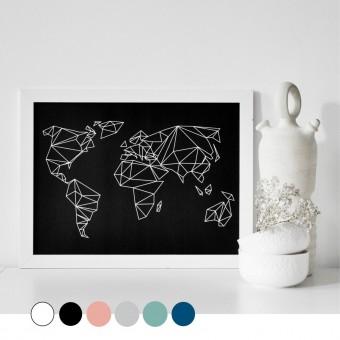 """nahili ARTPRINT / POSTER """"geo world"""" Weltkarte 6 Farben - (DIN A2/A3 & 50x70cm)"""
