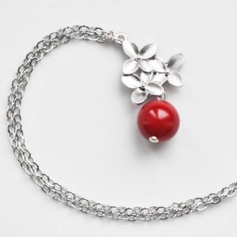 na.hili KETTE Kirschblüten *Weißgold* rote Koralle silberne Gliederkette 925 Silber