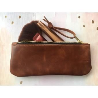 BSaite / Echtleder Mäppchen / kleine Leder Clutch / minimal / Geschenk