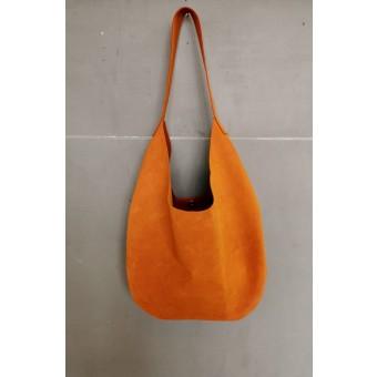 BSAITE großer Lederbeutel / Schultertasche / Shopper / orange