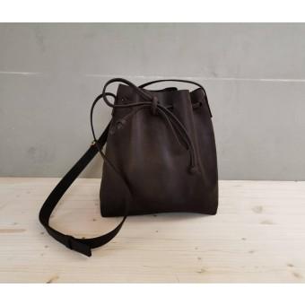 BSAITE Beuteltasche / Leder Shopper / Bucketbag / dunkelbraun