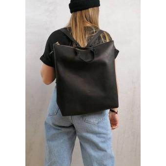 BSAITE Minimalistischer Rucksack / Backpack / schwarz / Echt Leder