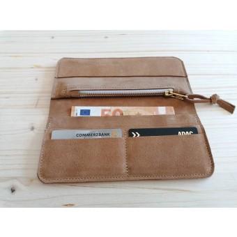 BSAITE Damen Geldbörse / Portemonnaie / Geldbeutel / Echt Leder / beige