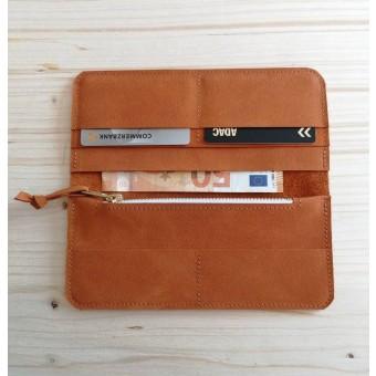 BSAITE Damen Portemonnaie / Geldbeutel / Geldbörse / Echt Leder / Orange