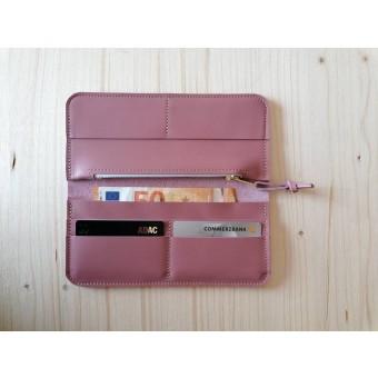 BSAITE Portemonnaie / Brieftasche / Geldbeutel für Damen / Echt Leder / rosa