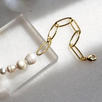 Gudbling // Paperclip Armband mit Süßwasserperlen