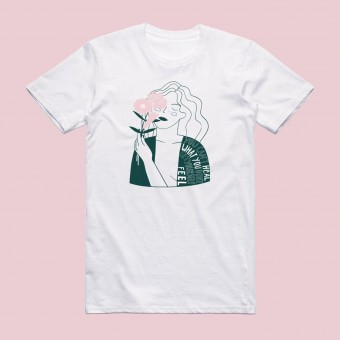 """Notietzblock T-shirt """"You can't heal what you don't let yourself feel"""" - grün rosa"""