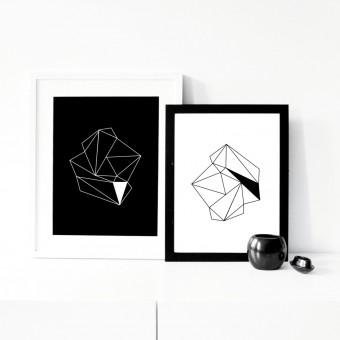 """nahili ARTPRINT / POSTER """"diamonds"""" schwarz oder weiß (DIN A3) Diamant minimalistische Grafik"""
