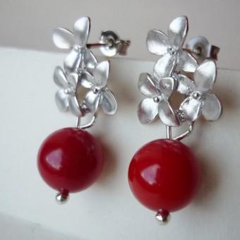 na.hili OHRSTECKER Kirschblüten *Weißgold* rote Koralle Stecker 925 Silber