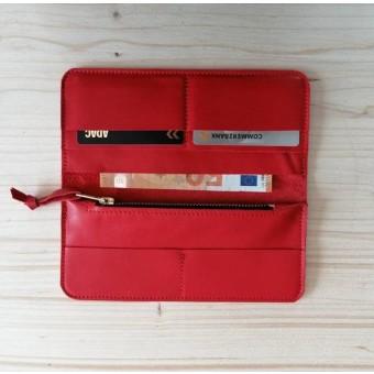 BSAITE rotes Portemonnaie / Damen Geldbeutel / Echt Leder