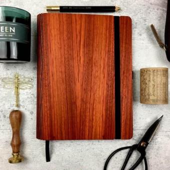 JUNGHOLZ Design Notizbuch, WoodBook, Padouk